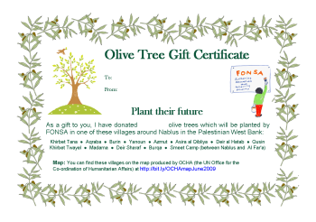 Small image of a FONSA Gift Certificate for Olive Trees