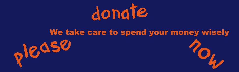 Please donate now - we take care to spend your money wisely